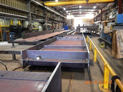 Steel girders for new Keith Road Bridge being assembled