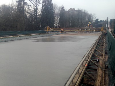 Concrete being poured on the new Keith Road Bridge deck