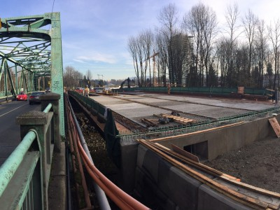Deck surface being added to the first half of the new Keith Road bridge