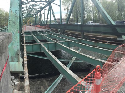 Keith Road Bridge with deck being removed