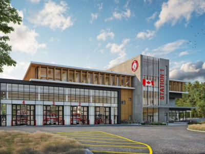 Rendering of the proposed fire and rescue centre in Maplewood