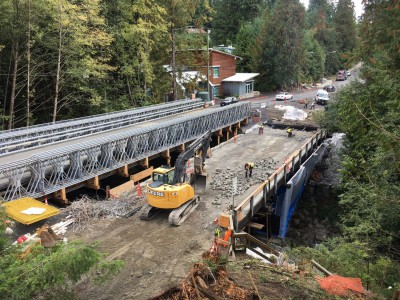 Old Montroyal bridge being demolished to make way for a new bridge