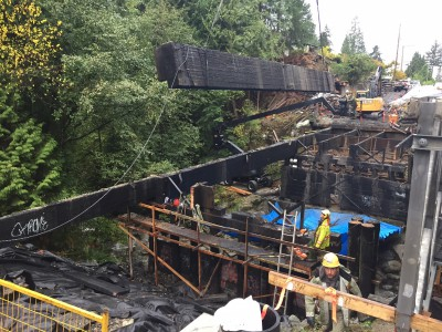 A photo of the demolition of the old Montroyal bridge