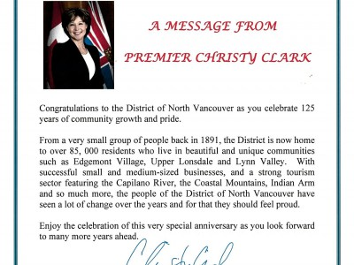 Image of letter from Premiere Clark regarding DNV125