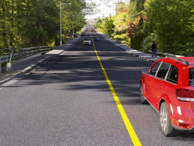 Rendering of bridge replacement work along Ross Road