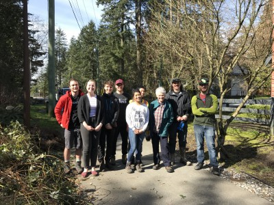 Volunteers removing invasive plants and planting native shrubs