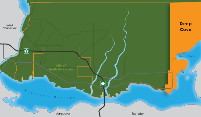 Map illustration showing the boundaries of Deep Cove in North Vancouver District