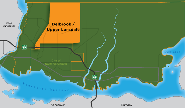 Map illustration showing the Delbrook area of North Vancouver District