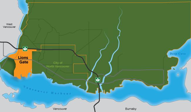 Map illustration of the Lions Gate neighbourhood