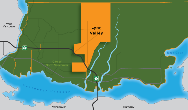 Map illustration showing the boundaries of Lynn Valley in North Vancouver District