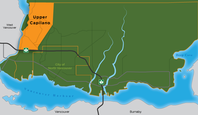 Map showing the boundaries of Upper Capilano in North Vancouver District
