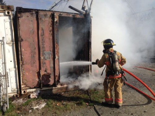 A fire fighter training exercise