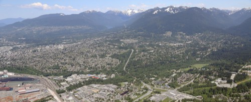 An aerial view of the District of North Vancouver