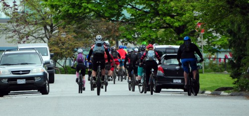 A large group of cyclists on the street