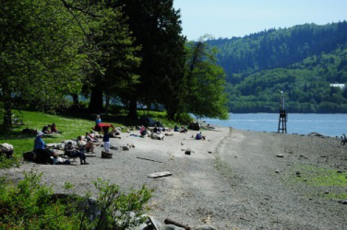 People on the beach in Cates Park