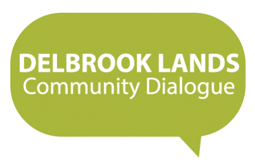 Official logo for the Delbrook Lands community dialogue