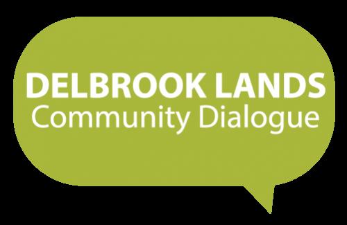 Official logo for the Delbrook Lands community dialogue