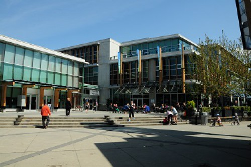 A photo of the public square in front of Lynn Valley Library