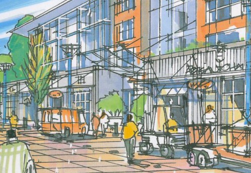 Rendering of the proposed high street in Maplewood Town Centre