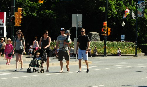 Two families with children in strollers