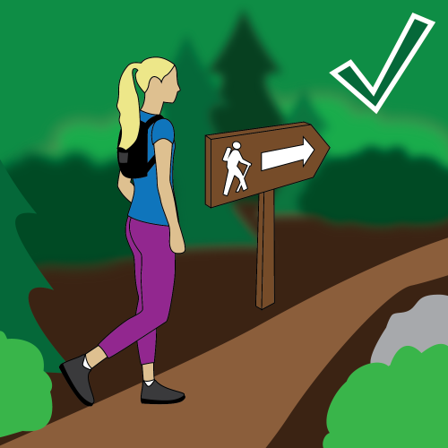 Trail safety illustration: Stay on the trails