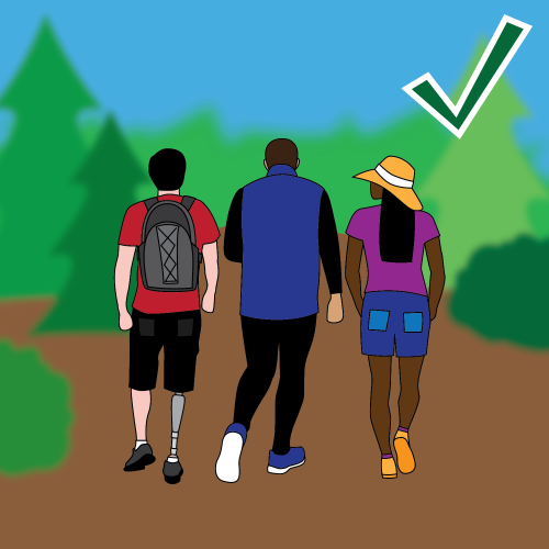 Trail safety illustration: Stay in your group