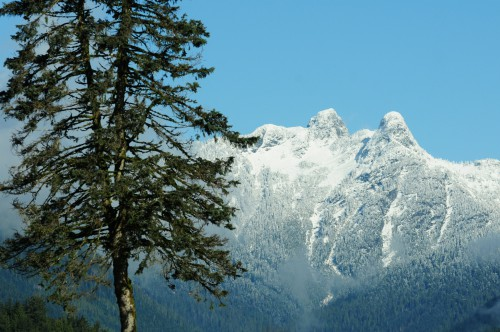 View of snow covered mountains from Upper Capilano neighbourhood