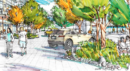 Conceptual drawing of new 'woonerf' street in Lions Gate Village