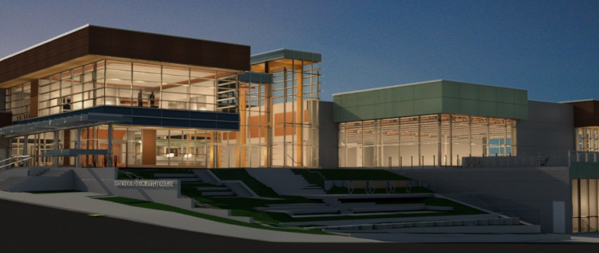 An artist's rendering of the new Delbrook recreation centre centre at dusk